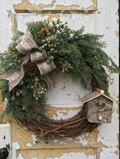 Your place to buy and sell all things handmade Christmas Woodland Wreath Rustic Christmas Wreath Christmas Outdoor Christmas, Rustic Christmas, Simple Christmas, Handmade Christmas, Christmas Time, Christmas Crafts, Christmas Decorations, Christmas Cookies, Diy Wreath