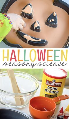 Ooey-gooey sensory investigation…what is better to explore with your little learners for a Halloween science activity?  This easy mixture is not only fun to play in but creates a variety of science learning opportunities.- Mrs. Jones' Creation Station #Halloween #ScienceActivity #Sensory #TeachersPayTeachers #MrsJonesCreationStation