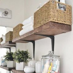 Easy, Simple, and very Cheap. DIY Bathroom shelves can add much needed storage to any bathroom.