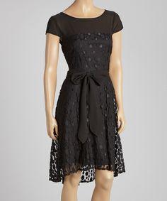 Love this Julian Taylor Black Dot Lace Cap-Sleeve Dress by Julian Taylor on #zulily! #zulilyfinds
