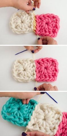 How to join Granny Squares with an invisible seam by shelby