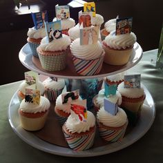 Storybook cupcake toppers for book theme baby shower
