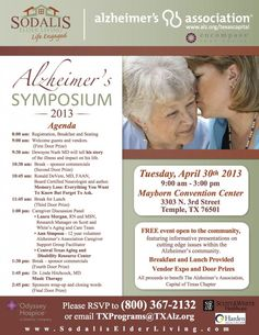 Free Alzheimer's Symposium in Temple, TX.  Outstanding speakers, breakfast and lunch provided.  Come join us!