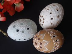 Polish Pysanky Eggs in Natural White Green and Brown by EggstrArt