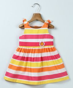 Loving this Pink & Yellow Stripe Flower-Accent Dress - Infant, Toddler & Girls on Yellow Stripes, Pink Yellow, Infant Toddler, Toddler Girls, Baby Girls, Girls Dresses, Summer Dresses, Carters Baby, Baby Size