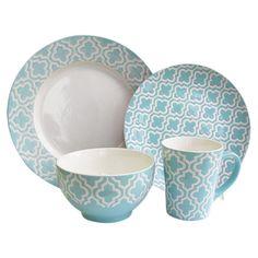 16 Piece Quatrefoil Dinnerware Set