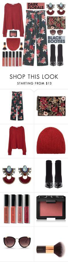 """Black Booties//Dark Florals"" by shoaleh-nia on Polyvore featuring MANGO, Balenciaga, Bobbi Brown Cosmetics, NARS Cosmetics and Rebecca Taylor"