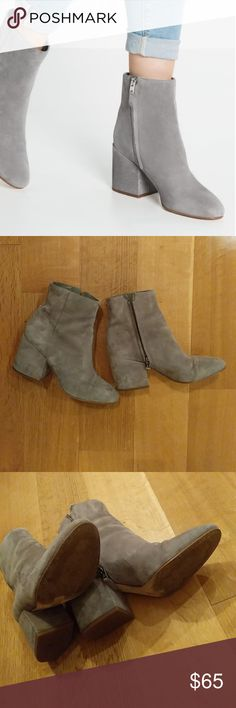 """Sam Edelman gray suede Taye booties Comfy and stylish - these boots go with everything. Love the chunky 3"""" heel. Sam Edelman Shoes Ankle Boots & Booties"""