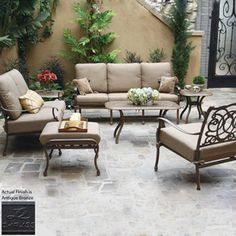 Darlee 7 Piece Florence Bronze Aluminum Patio Conversation Set