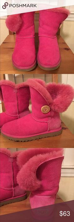 Pink ugg boots pink ugg boots with button UGG Shoes Ankle Boots & Booties