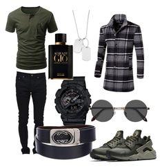 """Men fashion "" by ernesto-gonsalez on Polyvore featuring Yves Saint Laurent, NIKE, G-Shock, Variations, EyeBuyDirect.com, Gucci, Giorgio Armani, men's fashion y menswear"