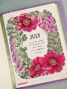 Colorindo mês de Julho. 🌺🍃 #thefloweryear #leiladuly