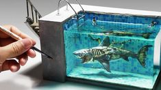 Diy Resin Art, Resin Crafts, Water Fountain Design, Arte Steampunk, Shark Art, Minecraft Designs, Sketch Inspiration, Ocean Art, Cool Things To Buy