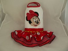 Dog Dress. Quilted. Minnie Mouse face. Harness dress by poshdog