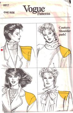 Shoulder Pads and Covers Triangular Rounded Sloping Sleeve Puff Six Varieties Vogue Sewing Pattern 8817 - Uncut Vogue Sewing Patterns, Vintage Sewing Patterns, Sewing Ideas, Hair Canvas, Look 80s, Pattern Drafting, Sew Pattern, Pattern Art, Coat Patterns