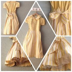 Vintage Special Striped yellow Ivory Girls Raw by VintageInstincts