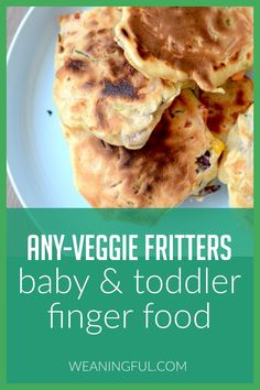 Looking for veggie finger foods for your baby or toddler? These quick and easy fritters can incorporate almost any veggie in the batter, making them nutritious and healthy for those just starting solids or even older kids who turned into picky eaters. Healthy Baby Food, Healthy Meals For Kids, Meals For One, Kids Meals, Baby Meals, Healthy Recipes, Veggie Recipes, Toddler Finger Foods, Toddler Meals