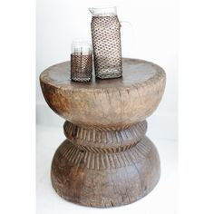 Indian Carved Wooden Stool/Side Table