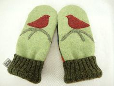 Bird Mittens Felted Wool In Light Green, Red, Blue and Dark Green Bird and Branch Applique Leather Palm Upcycled Eco Friendly Size S/M by ForMyDarling