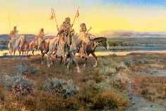 Piegans - Charles Marion Russell (b. 1864, Oak Hill, Missouri - d. 1926, Great Falls, Montana), also known as C.M. Russell, was one of the great artists of the American West. Russell created more than 2,000 paintings of cowboys, Indians, and landscapes set in the Western United States, in addition to bronze sculptures. His mural entitled Lewis and Clark Meeting the Flathead Indians hangs in the state capitol building in Helena, Montana.