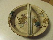 "Wishon Harrel Pottery Pie Plate Dish w/ Basket Handle 9 1/2"" Muncie Ind Indiana"