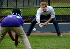 Pin for Later: Proof That Prince Harry May Be the Sportiest Member of the Royal Family  He brushed up on his baseball skills in Harlem, NYC, in May 2013.