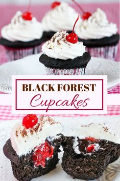 Black Forest Cupcakes are rich, dark chocolate cupcakes and are supremely moist. But the surprise is the cherry filling hiding beneath mounds of fluffy vanilla buttercream that puts the flavor of these treats over the top!