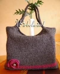 Tasche Filzen Gemischt Knitting Felt Und Crochet