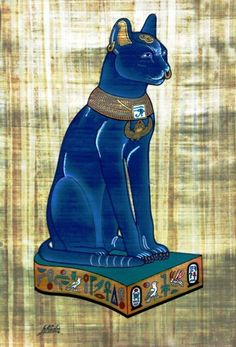 Papyrus Painting - Blue Bastet (Bast) the Egyptian Cat by kristi Cats In Ancient Egypt, Ancient Egyptian Deities, Ancient Civilizations, Egyptian Cat Goddess, Egyptian Cats, Anubis, Bastet, Egypt Art, Fantasy