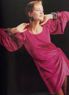 Yves Saint Laurent Haute Couture- A/W 1987-88 Pink Abraham silk satin 3/4 sleeve side wrap short dress.  L'Officiel No. 734- September 1987