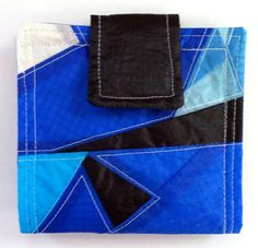 Small Eco Clutch Recycled Paragliders Blue Geometric by OffChutes,