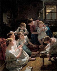 """""""Kinder am Morgen Bilder betrachtend"""" (1853) von Ferdinand Georg Waldmüller (geboren am 15. Jänner 1793 in Wien, gestorben am 23. August 1865 in Hinterbrühl bei Mödling), österreichischer Maler."""