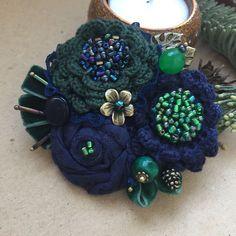 """Купить Вязано-текстильная брошь """"Речная нимфа"""" - брошь ручной работы, брошь цветок"""