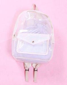 bag clear backpack transparent bag bookbag knapsack school bag see through cute stripes stripped bag transparent  bag mesh lovely petite
