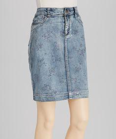Blue Floral Denim Skirt | Daily deals for moms, babies and kids