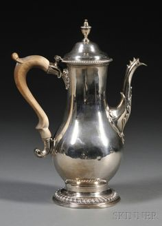 George III Silver Coffeepot, London, 1777, Charles Wright, maker