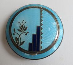 Excellent VTG round Art Deco blue enamel round compact