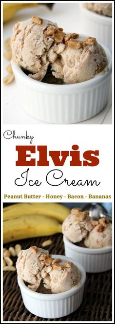 Chunky Elvis Ice Cream recipe - homemade ice cream with peanut butter, bananas, honey, and bacon! Add these items to pre made coconut ice cream. Ice Cream Desserts, Ice Cream Flavors, Frozen Desserts, Ice Cream Recipes, Frozen Treats, Gourmet Ice Cream, Sherbet Recipes, Banana Recipes, Ice Cream Party