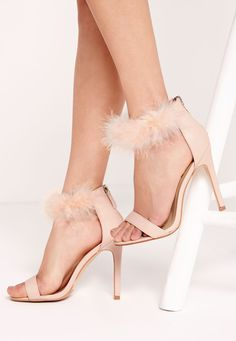 Missguided - Feather Ankle Strap Barely There Nude
