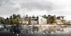 Musée du Léman unveils extension proposal featuring concrete walls and a rooftop lawn