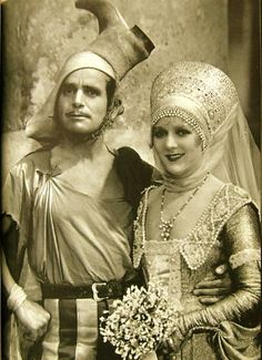 Mary Pickford  Fairbanks Sr in costume for Taming of the Shrew c.1929   Love the boot on Doug's head :P   via mythicalmonkey.blogspot.com