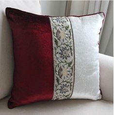 Bow Pillows, Burlap Pillows, Sewing Pillows, Throw Cushions, Velvet Cushions, Bed Cover Design, Cushion Cover Designs, Pillow Design, Cushion Covers