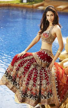 Red Bridal Lengha #saree #indian wedding #fashion #style #bride #bridal party #brides maids #gorgeous #sexy #vibrant #elegant #blouse #choli #jewelry #bangles #lehenga #desi style #shaadi #designer #outfit #inspired #beautiful #must-have's #india #bollywood #south asain