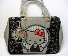 76a4c64a6 Loungefly Hello Kitty Red Bow Black Lace Satchel Grey Bag Purse Sanrio New # Loungefly #
