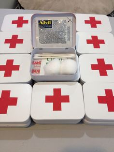 First aid kits made from altoid tins in welcome bags for a destination wedding in Italy