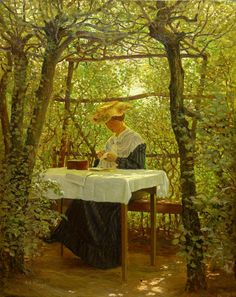 Young Woman with Embroidery the Garden ~ Karl Harald Alfred Broge ~ (Danish…