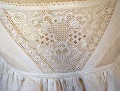 Maria Niforos - Fine Antique Lace, Linens & Textiles : Antique Christening Gowns & Children's Items # CI-110 Circa 1800's, Superb Ayrshire Christening Gown w/ Boteh Design