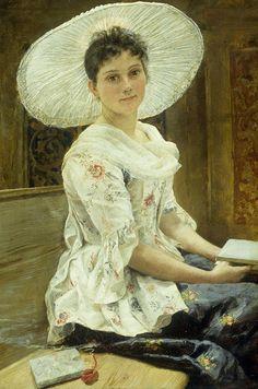 Bela jovem com chapéu branco Franz Xavier Simm (Áutria, 1853-1918) óleo sobre madeira, 30 x 22 cm
