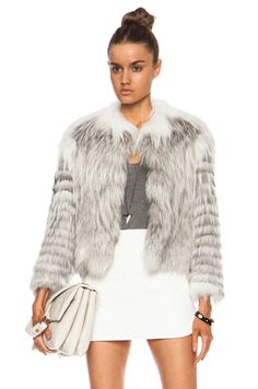 YVES SALOMON | Renard Fur Jacket in Platinum