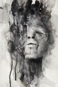 Artist: Januz Miralles {contemporary female head abstraction woman face portrait mixed media b+w grunge painting drips}